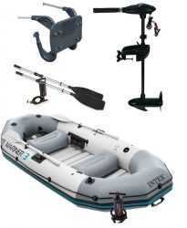 Intex gumicsónak szett Mariner 3 + Elektromos csónakmotor 40lbs + motortartó