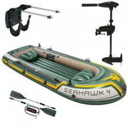 Intex gumicsónak szett , Seahawk 4 + Elektromos csónakmotor 40lbs + motortartó