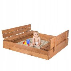 Gyermek homokozó 120x120 cm-es padokkal