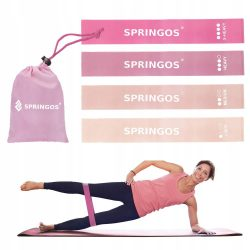 4 elasztikus rózsaszín gumiszalag készlet , szalaggal való edzéshez SPRINGOS