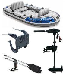 Intex szett , gumicsónak Excursion 4 + Elektromos csónakmotor 40lbs + motortartó